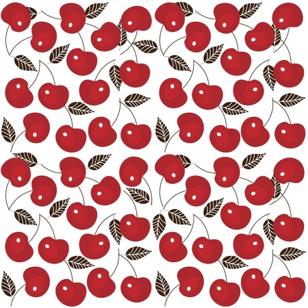 cherries isolated: Cherry seamless background, vector image, cherry wallpaper