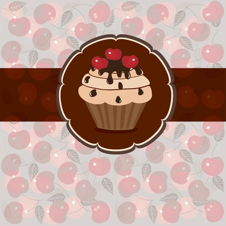cherry pie: Sweet pastry on a light background of hearts and flowers, vector