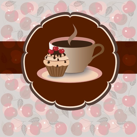 Sweet pastry on herry background, vector image  EPS10 Vector