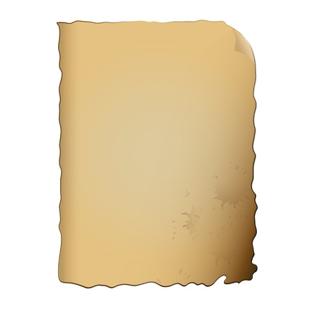 patched: old paper with stains, isolated, vector image