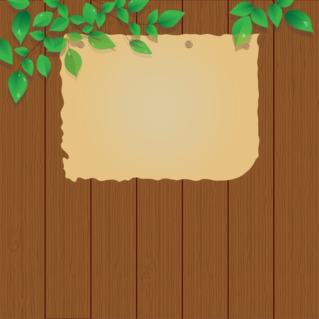 old paper  on the wood fence, sign, vector Vector