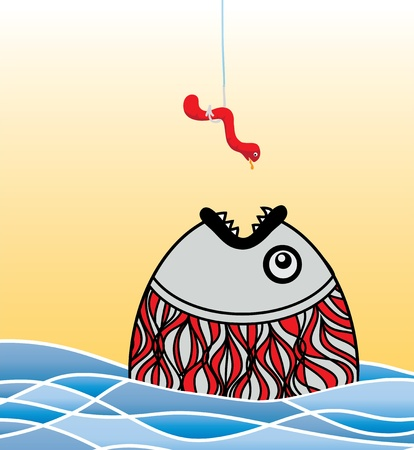 sly and hungry fish a worm, vector stylization Vector