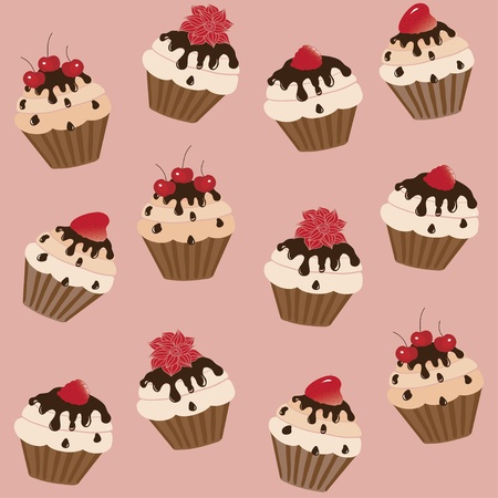 Sweet cakes on a light brown background, vector image Vector