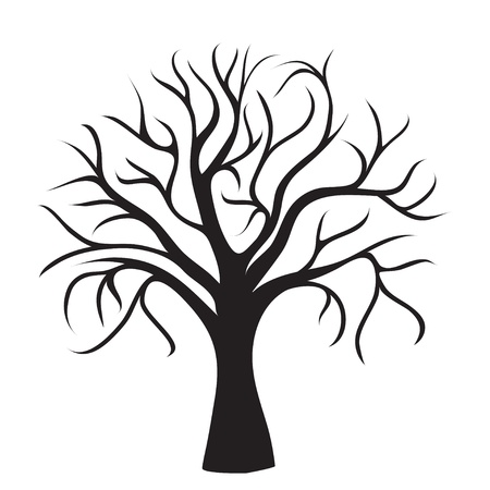 tree in autumn: black tree without leaves on white background, vector image