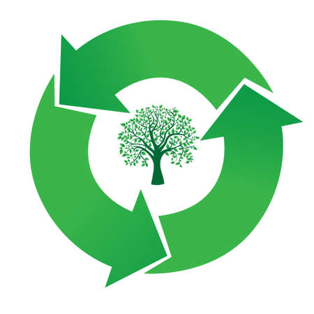 recycling plant: stylized sign recycling within the tree, vector