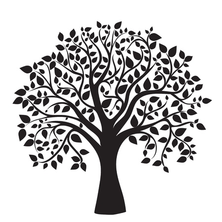 convivencia familiar: silueta de �rbol negro sobre fondo blanco, vector