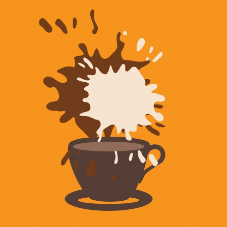 Coffee cup on orange background  Vector