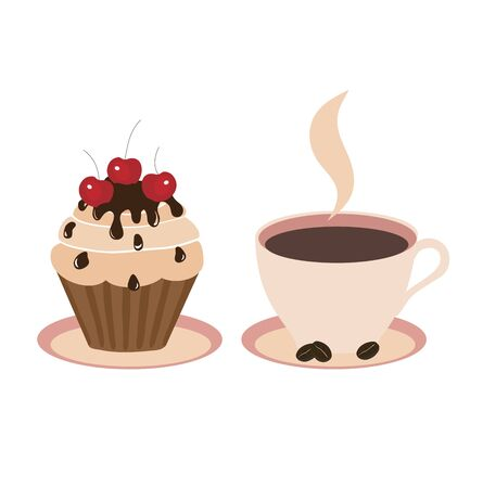 Sweet cake and cup on a light background, photo