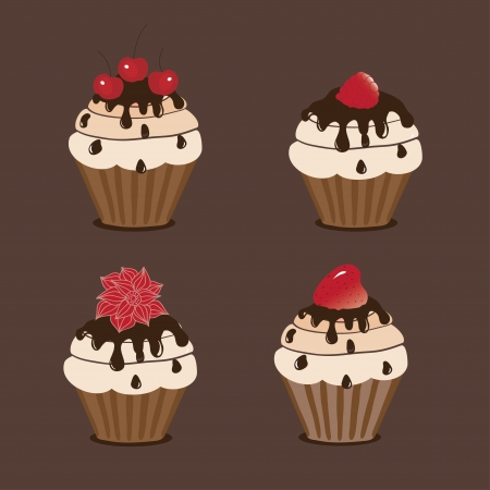 Sweet cakes on a brown background