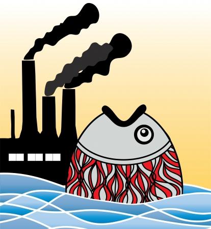 causaba: los peces se produce fuera del agua causado por la suciedad Vectores
