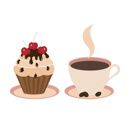 Sweet cake and cup on a light background  Vector