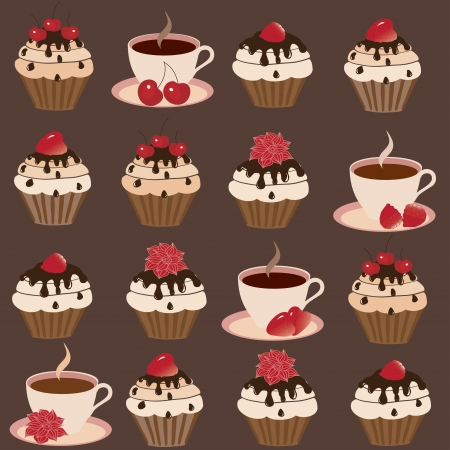 Sweet cakes on a brown background  Vector