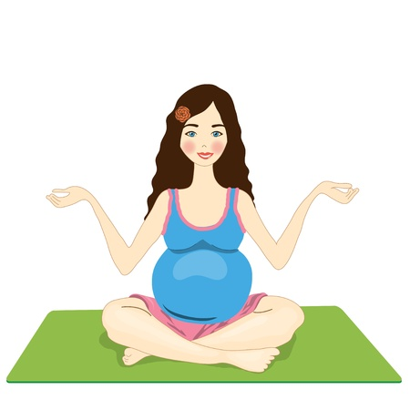 cross legged: pregnant woman yoga  isolated on a white background  vector