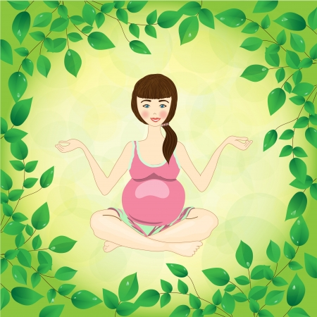 cross legged: pregnant woman yoga on the leaves and sunshine background