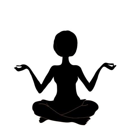 silhouette yoga on the white bzckground photo