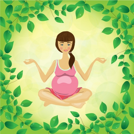 pregnant woman yoga on a leafs  background  vector photo