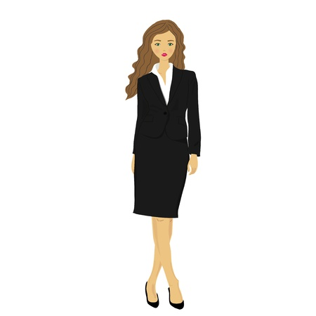 30 s: businesswoman wearing, smiling, standing in front white background