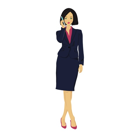 mobile communications: Business lady said by cell phone