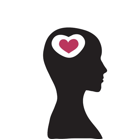 brain and thinking: concept of love on the white background