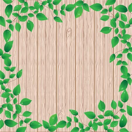 Wooden background with green floral frame Vector