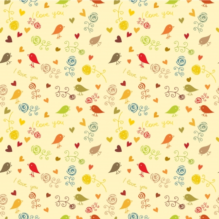 retro styled: floral, bird and hearts  seamless wallpaper, pattern Illustration