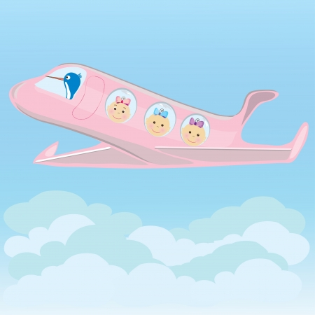 Stork carries on a plane triplets baby girls  Vector