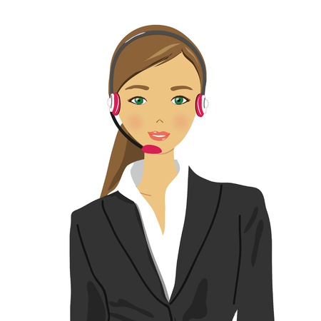 switchboard operator: friendly young woman with headphones and a microphone  Illustration