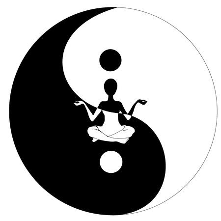 yin yang symbool en Yoga Vector Illustratie