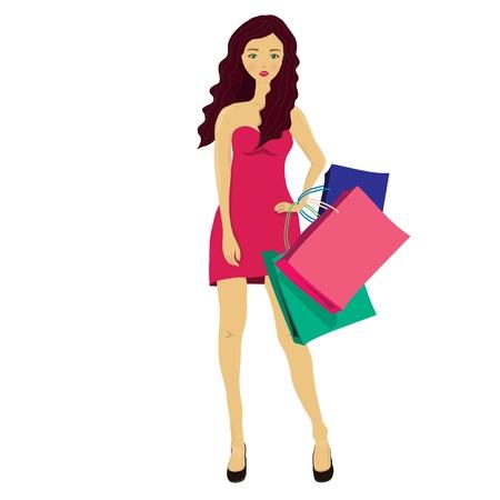 mujeres dinero: Moda joven mujer con bolsas de compras