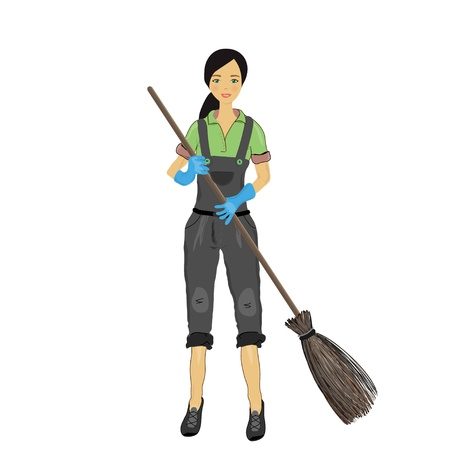 digging: a pretty young woman with a broom in his hand