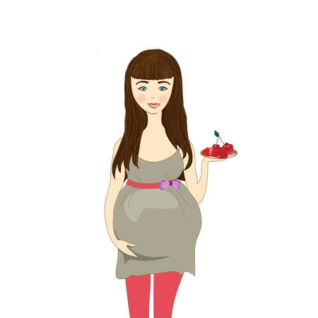 upset a pregnant woman with cherry, vector image Stock Vector - 13781358