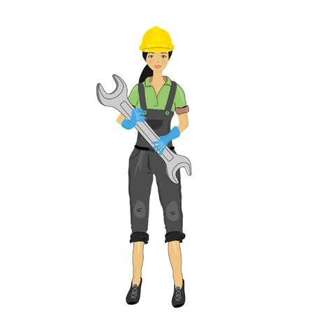 female engineer: girl in a yellow helmet with a wrench isolated on white, vector image