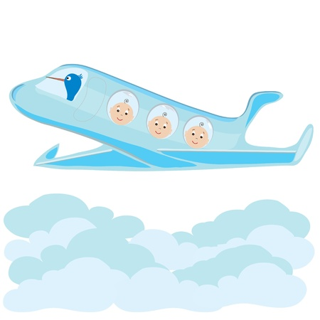 Stork carries on a plane triplets baby boys Vector