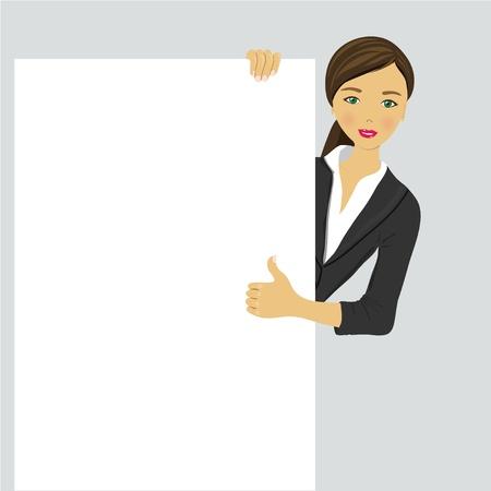 Feliz sonriente mujer de negocios joven que muestra letrero en blanco, sobre fondo blanco