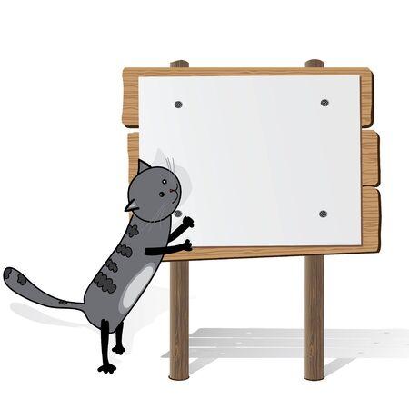 grey cat: Grey cat holding blank billboard