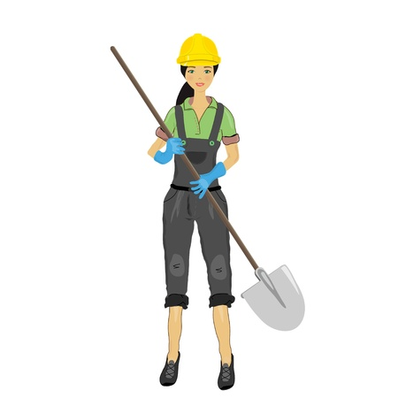 Construction woman with a shovel Stock Vector - 13834996