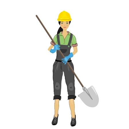 Construction woman with a shovel Stock Vector - 13834996