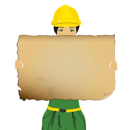 Constructor woman holding an empty board Stock Photo - 13834973