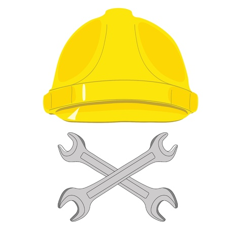 The protective helmet working and crossed wrenches  The image of a skull and bones Vector