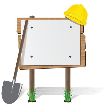 billboard, a protective helmet and a shovel  Vector