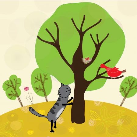 dibujos animados, un gato y el pájaro