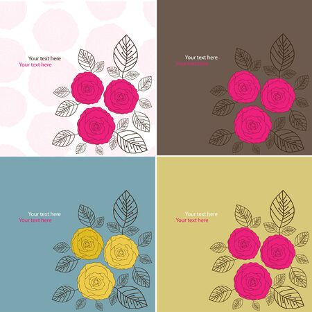 Flower cards  Set from four vector illustrashion Stock Vector - 13910223