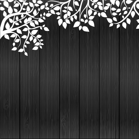 White floral on wood background, vector illustrashion Stock Vector - 13910220
