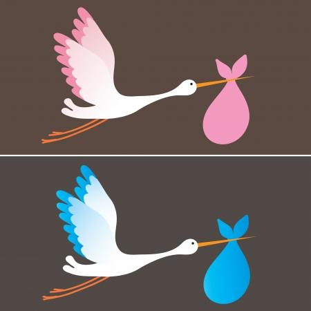Eine Karikatur Illustration eines Storch ein Neugeborenes Mädchen und Jungen