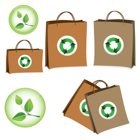 reusable: Bag with the sign of recycling  Vector image