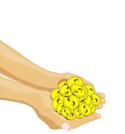 give money: vector drawing of the hands to give money Illustration