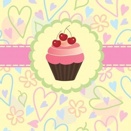 gelatina: Pastelería dulce sobre un fondo claro de corazones y flores, vector