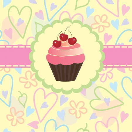 Sweet pastry on a light background of hearts and flowers, vector Vector