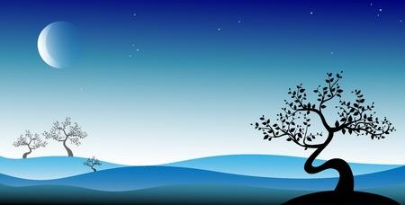 Black bonsai tree on blue background, vector Stock Illustratie