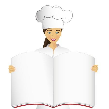 Cook holds an open book Vector